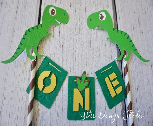 Dinosaur T Rex Cake Topper Birthday Bunting Dino Smash First Any Number Name Available Series 2