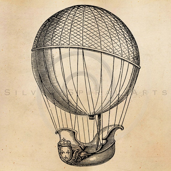 Vintage Hot Air Balloon Illustration Printable 1800s