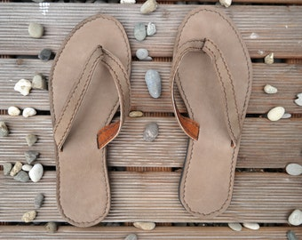 Sandals, leather, flip flops, leather sandals, leather flip flops, thongs, casual, beige-sand, handmade