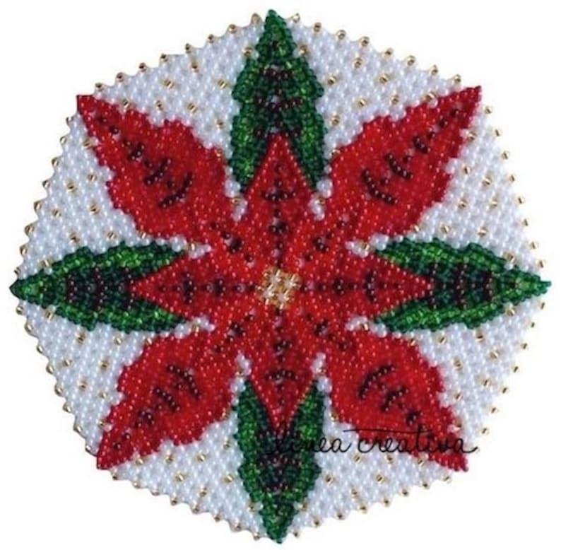 PDF pattern for beaded christmas doily 15 cm