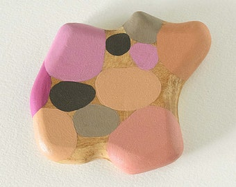 Abstract Vanity Hand Mirror (pink and gray) float