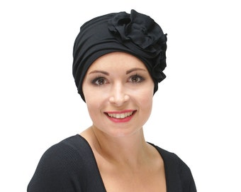 Black Chemo Hat | Hats for Hair Loss | Hats for Cancer Patients | Dressy Chemo Hat | Women's Turban | Alopecia Hat - handmade XS S M L XL