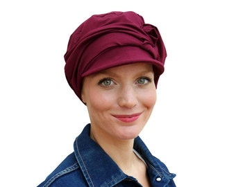 6d86ebc1a08 Womens chemo black newsboy hat