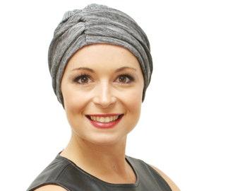 Silver chemo hat, fashion turban, designer chemo headwear and hat for hair loss, evening wear chemo turban -pre-tied turban, in sizes