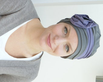 Cancer hat | Unique Hair Loss Hats For Women's Hair Loss | Soft Chemo Headwear in muted cols. - avail. in taupe/mauve soft jersey, all sizes
