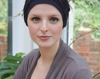 Black turban chemo hat, versatile Alopecia turban, chemo soft cap, excellent breast cancer gift- XS - XL sizes, avail. 7 cols, made to order