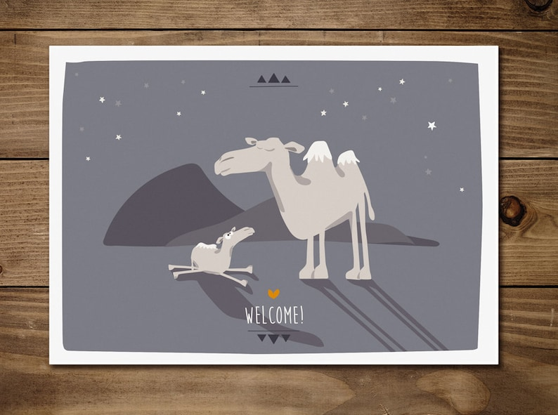 Postcard birth-Welcome camels