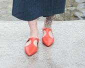 Women Shoes, Orange Flat Shoes, Leather Mules, Women Flat Shoes, Open Shoes, Leather Flats, Pointed Shoes, Extravagant Shoes, Women Slip Ons