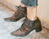 Snake Shoes, Heels Boots, Women Winter Shoes, Snake Boots, Winter Boots, Lace Shoes, Oxford Shoes, Pointed Boots, Vegan Shoes, 6-9 Sizes