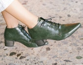 Oxford Boots Heel, Boho Shoes Boots, Women Shoes, Tie Boots, Green Shoes, Lace Boots, Winter Shoes, Vegan Boots, Pointed Shoes,6-9 Shoe Size