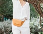 Leather Waist Bag, Crossbody Bag, Leather Fanny Pack, Designer Bag, Peach Purse Bag, Leather Hip Bag, Birthday Gift, Handmade Clutch Bag