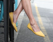 Handmade Leather Shoes, Ballet Flats, Women Yellow Shoes, Leather Flat Shoes, Pointed Toe Flats, Bridesmaid Shoes, Leather Slip Ons