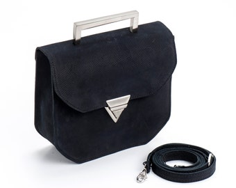 Black Leather Clutch / Evening Leather Purse / Crossbody Small Bag / Shoulder Bag  / Geometric Women Handbag / Elegant Wallet - Tonny
