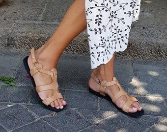 Greek Sandals, Women's Sandals, Nude Sandals, Boho Sandals, Flat Sandals, Strap Sandals, Minimalist Sandals, Women's Shoes, Summer Sandals