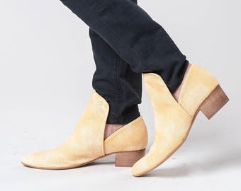 Mustard Vegan Leather Shoes / Womens Shoes / Every Day Slip On Shoes / Loafers / Flats / Comfortable Shoes / Wooden Heels Shoes - Sydney