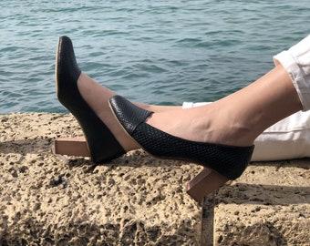 Women's Shoes, Heels, Pumps Shoes, Leather Pumps, Black Leather Shoes, Elegant Shoes, Block Heels, Pumps Heels, Black Pumps, Snakeskin Shoes