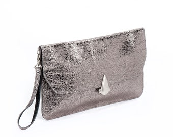Women Leather Clutch / Blackened Silver Purse / Metalic Bag / Shoulder Bag / Crossbody Evening Clutch  / Shiny Wallet - Madeus Bag