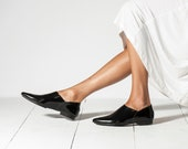 Patent Leather Shoes, Black Shoes, Pointed Flats, Leather Mules, Pointy Shoes, Elegant Shoes, Leather Loafers, Women Slip On Shoes, Summer