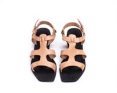 Women's Sandals, Beige Sandals, Greek Sandals, Leather Sandals, Nude Sandals, Flat Sandals, Summer Sandals, Women Shoes, Strap Sandals
