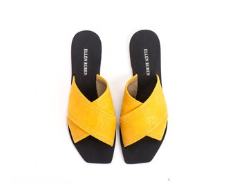 Vegan Sandals, Yellow Sandals, Slide Sandals, Women's Shoes, Women's Sandals, Flat Sandals, Slip Ons, Mules, Women's Slides, Summer Shoes