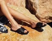 Vegan Sandals, Women's Sandals, Criss Cross Sandals, Flat Sandals, Black Sandals, Slide Sandals, Fabric Shoes, Vegan Shoes, Slip On Sandals