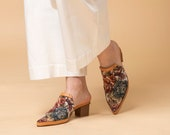 Fabric mules, casual, comfortable and trendy  Chunky Heels, Pointed Shoes, mules for everyday wear.