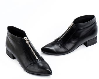 Black Leather Boots / Ankle booties / Zipper Boots /Womens Shoes / Casual Leather Sharp Tip Boots / Designer High Heels Shoes  - Fossil