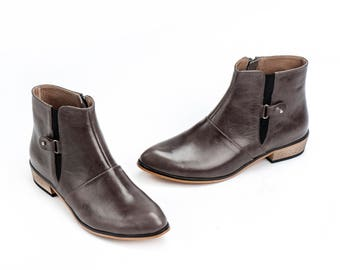 Women Leather Booties /  Flat Shoes / Taupe Leather Boots / Grey-Brown Office Shoes / Designers Leather Shoes / Wood Heels Shoes - Jerry