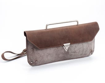 Dusty Brown Leather Clutch / Evening Leather Purse / Crossbody Bag / Shoulder Bag  / Women Clutch / Elegant Geometric Wallet - Jimi