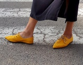 Yellow Shoes, Women's Shoes, Vegan Shoes, Derby Shoes, Flat Shoes, Women's Flats, Comfortable Shoes, Fabric Shoes, Pointed Flats, Lace Shoes