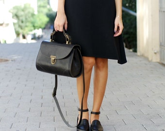 Black Leather Shoes / Leather Flats / Women Sandals / Every Day Shoes / Strap Shoes / Comfortable Shoes / Wooden Heels Shoes - Audi