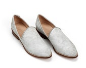 Leather Shoes, Women Shoes, Women's Loafers, Slip on Shoes, White Shoes, Flat Shoes, Leather Flats, Cream Shoe, Off-White Shoe,Designer Shoe