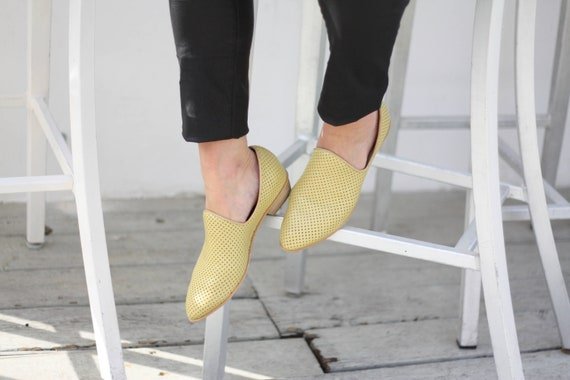 Yellow Comfortable Shoes Designer On Shoes Flats Shoes Shoe Leather Shoe Shoes Slip Pastel Handmade Loafers Leather Shoes Women's rwrqfF7O