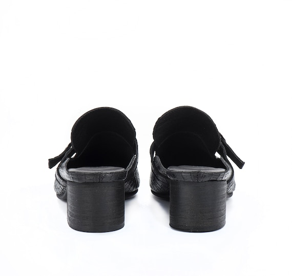 Leather Black Low Heels Summer Clogs Shoes On heel Shoes Mules Women Shoes Loafers chunky Shoes Women Leather Leather Slip ErxnfqwOr6