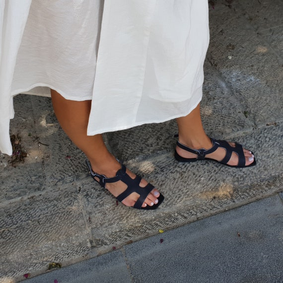 Sandales noires femmes sandales grec sandales Cuir Boho sandales sandales grecques femmes chaussures d sandales bracelet sandales plates sandales qwAxIpCXp