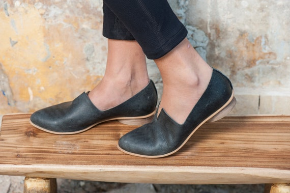 Textured Leather Shoes Flat Black Leather Shoes Women Etsy