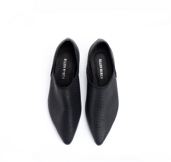 Comfortable Shoes Shoes Flats Black Shoes Shoes Slip On Shoes Women Shoes Flat Flat Leather Loafers Flats Pointed Women's Black T4PPwSq