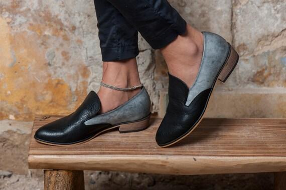 chaussures tous cuir de chaussures confortables talons jours chaussures Kiki les en gris cuir en en femmes chaussures bois plates Noir chaussures 16wgAWIYg