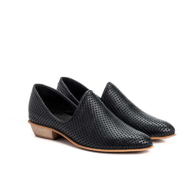1e1b4c71161d7d Schwarze Schuhe Leder Ballerinas Damenschuhe Slip auf