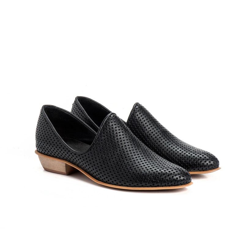 2e5ee631291f11 Schwarze Schuhe Leder Ballerinas Damenschuhe Slip auf