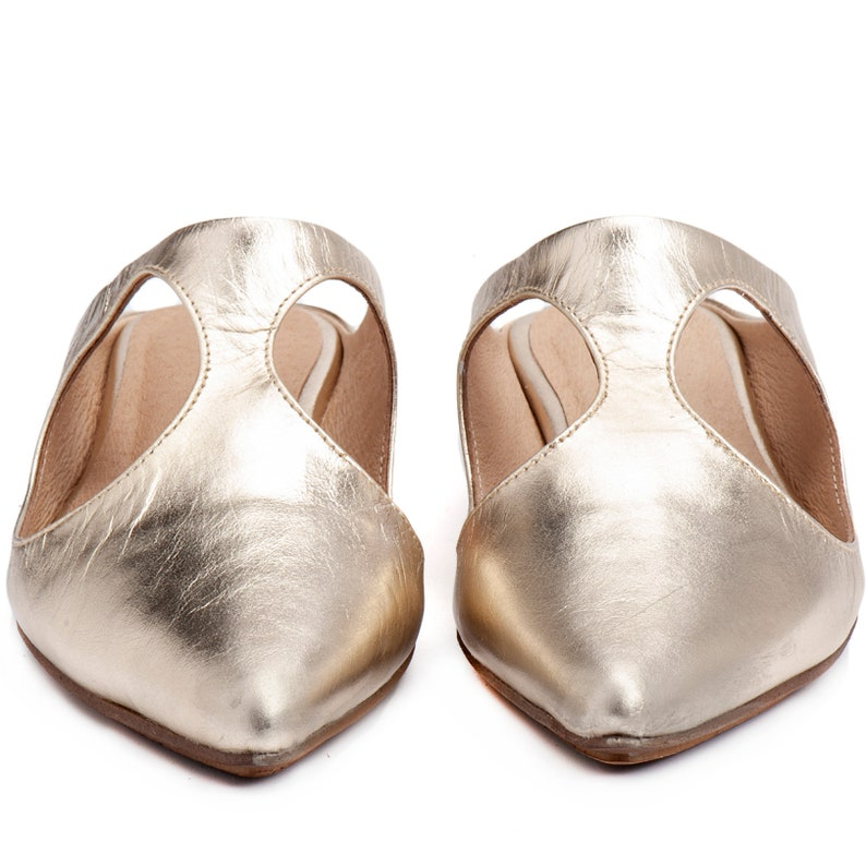 Leather Slides Women Mules Shoes Leather Loafers Women Flats Slip On Shoes Gold Mules Pointed Flats Summer Shoes Leather Shoes
