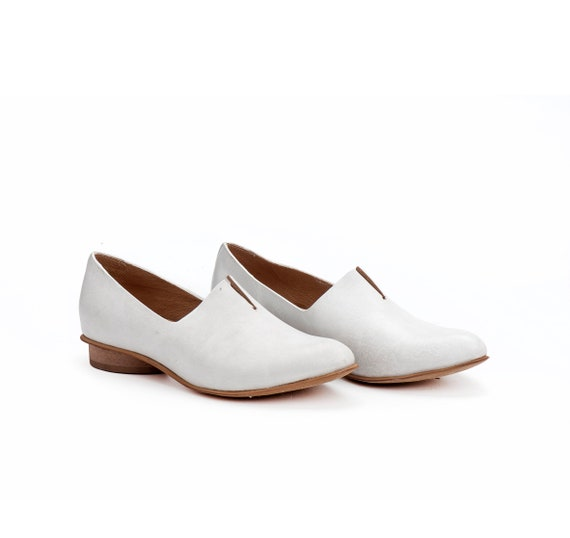 Scarpe da donna scarpe di cuoio scarpe bianche ballerine  8ecc673654a