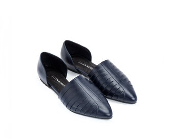 Women's Shoes, Leather Shoes, Blue Shoes, Leather Flats, Women's Flats, Slip On Shoes, Comfortable Shoes, Pointed Flats, Open Shoes