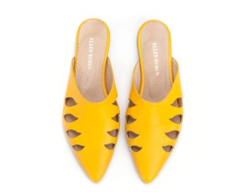 Leather Shoes, Women's Flats, Leather Mules, Yellow Shoes, Leather Flats, Comfortable Shoes, Pointed Flats, Slide Sandals, Slip On Shoes