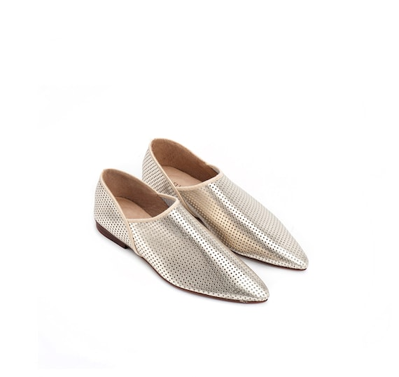 Gold Metallic Shoes Flats Leather Moroccan Agadir Flat Shoes Leather Shoes Women Shoes Shoes Summer 11qrwAxg