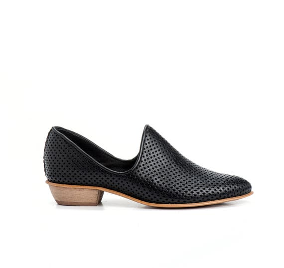 Flat Black Leather Shoes Women Shoes Every Day Shoes Etsy