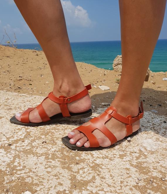 sandales plates sandales d Sandals sandales grecques Sandales femmes cuir en sandales Boho sandales femme sandales Orange chaussures Strap Px5T5n