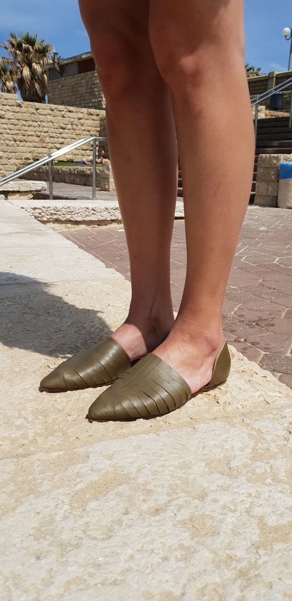 Sandals Sandals Shoes On Shoes Sandals Summer Summer Green Flat Sandals Sandals Slip Shoes Green Sandals Women's Leather Women 6FIgTqgw