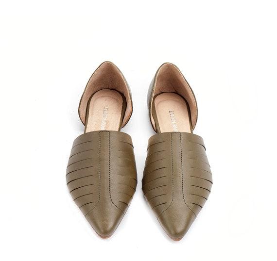 Shoes Flat Shoes Shoes Shoes Flats Women's Green Leather On Shoes Women's Sandals Open Women's Shoes Shoes Leather Comfortable Slip Uw0qZBR7