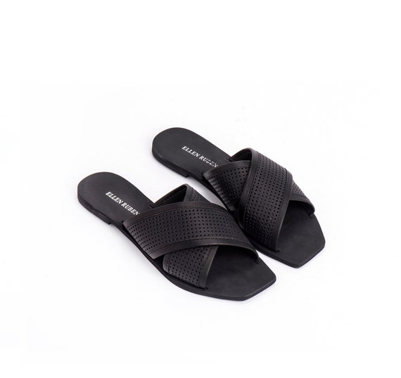 On Flip Sandals Summer Flats Flops Leather Criss Cross Black Slip Shoe Women's Leather Slides Sandals Shoes Sandals Leather Sandals wCwq0TZB